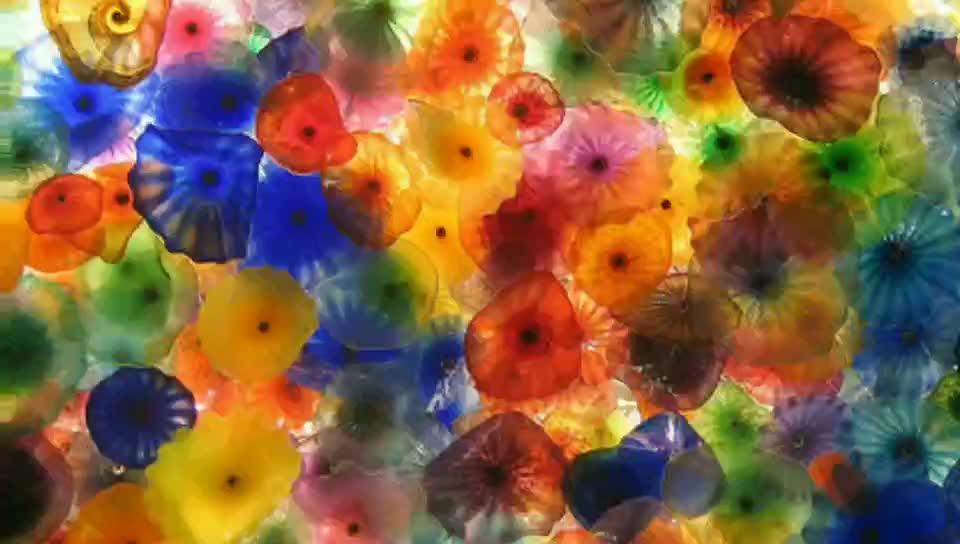 Venta al por mayor de lujo de cristal de Murano flor placas de arte de la pared