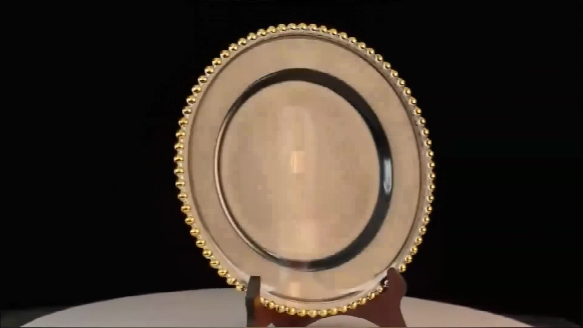 13 inch golden silver round wedding glass charger plate