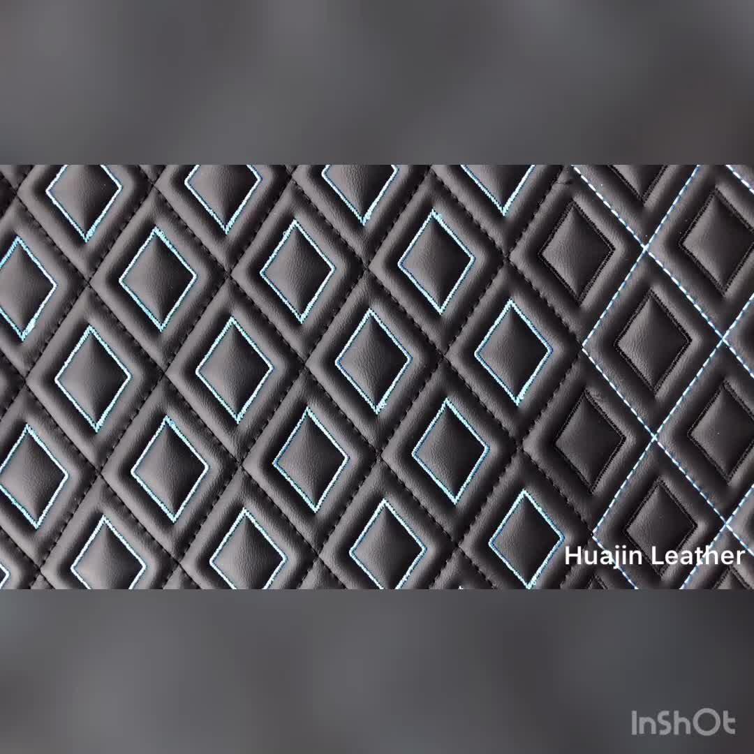 customized Eco-friendly stitching PVC embossed faux leather for car floor mat