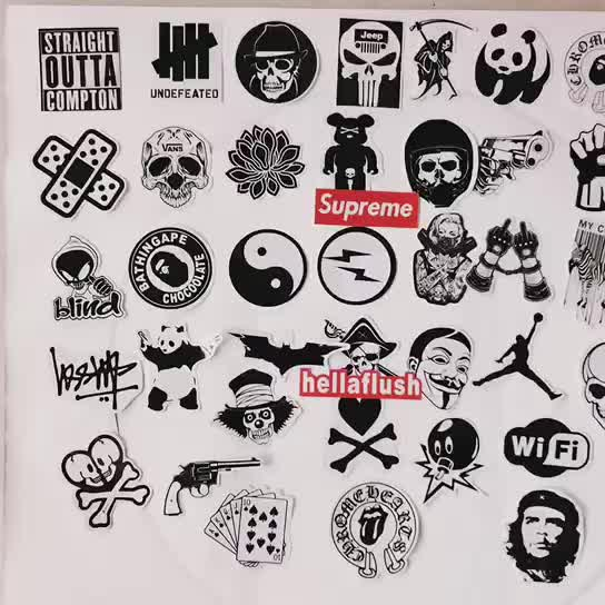 45 pc Black and White Sticker Bomb Pack, bombing stickers, laptop air phone stickers