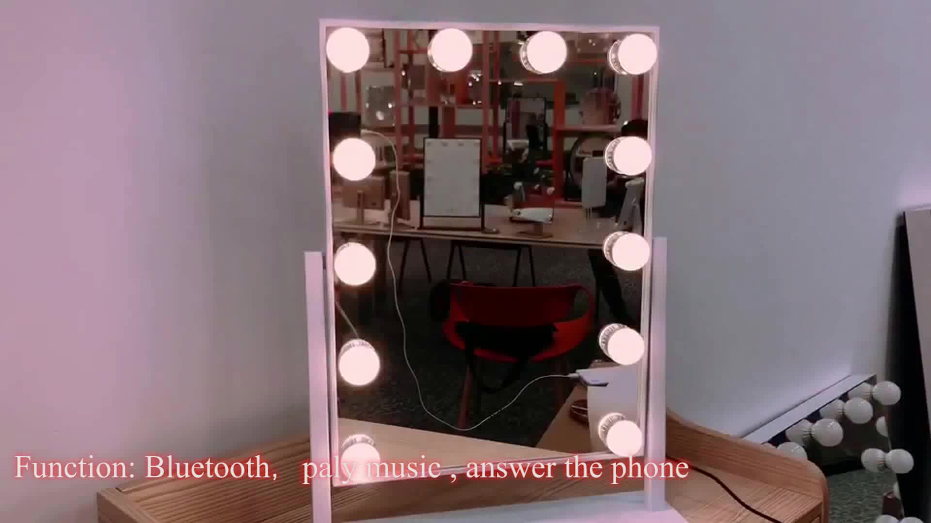 12 LED Bulbs Hot sale  hollywood style mirror light Makeup Cosmetic Mirrors with bluetooth speaker