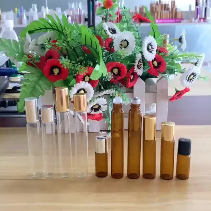 Stock supply 10ml clear glass perfume essential oil roll on bottle with aluminum cap