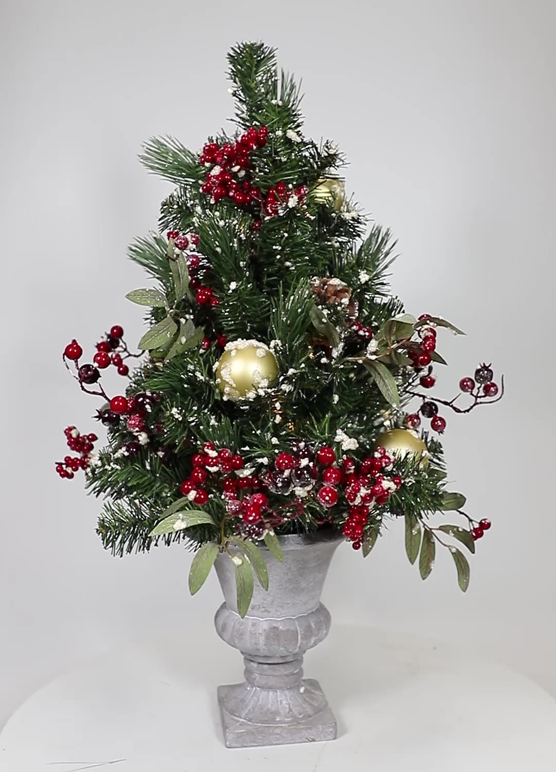 61Cm Plastic Grass And Red Fruit Bonsai Indoor Smart High End PE Potted Christmas Table Top Tree With Led Light
