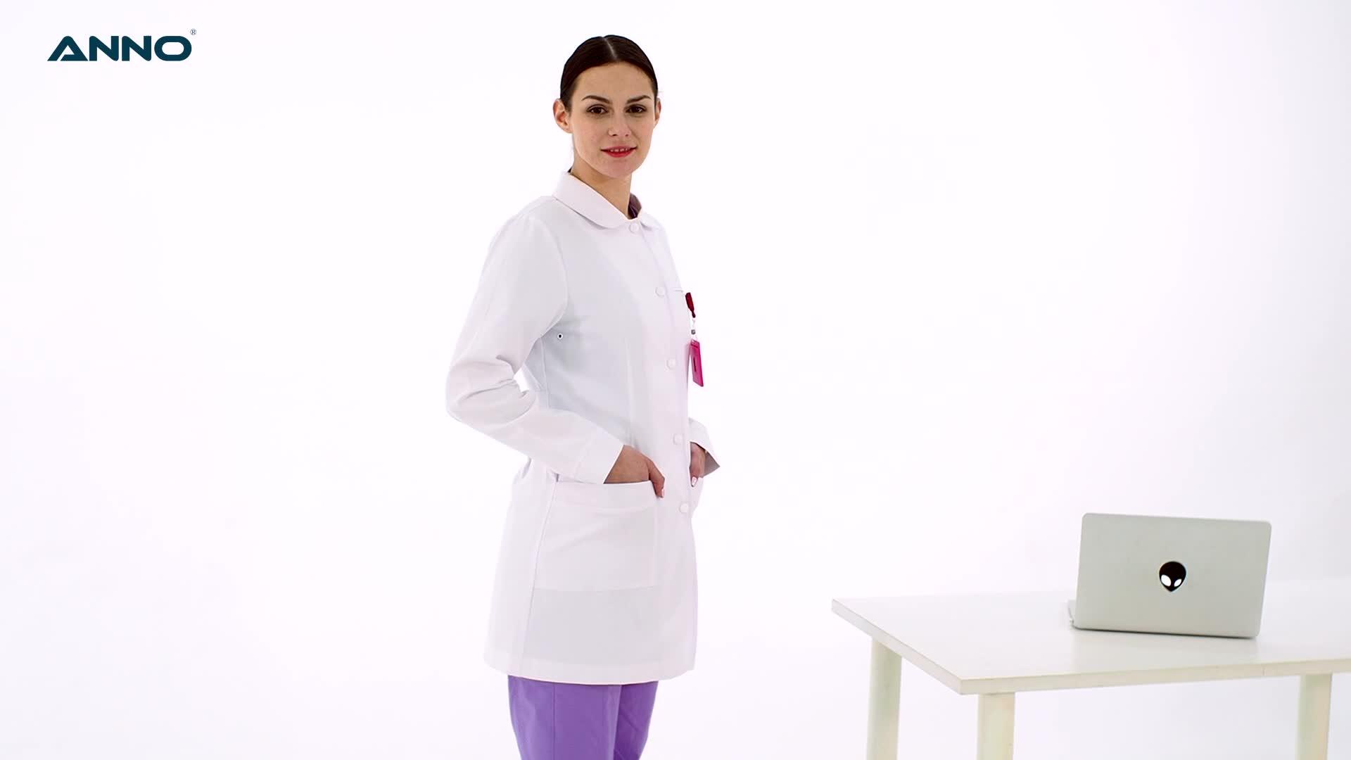 OEM Service Hospital Uniforms White Lab Coat Medical Doctor Nurse Scrub Suits