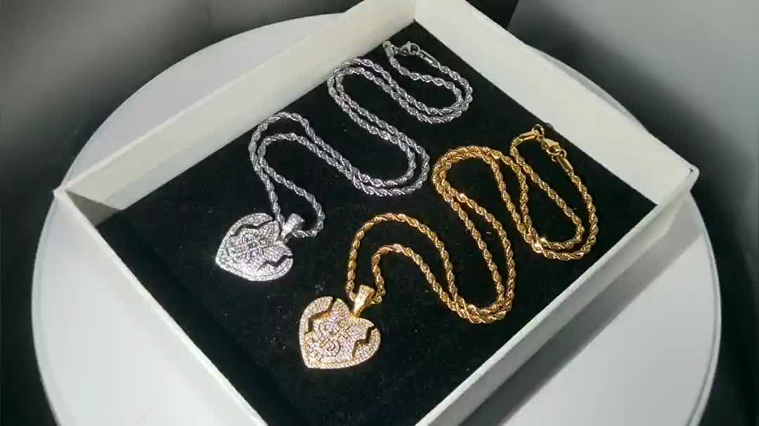 Gold Plated Micro Pave Break Heart Pendant Necklace with Dollar Sign Jewelry