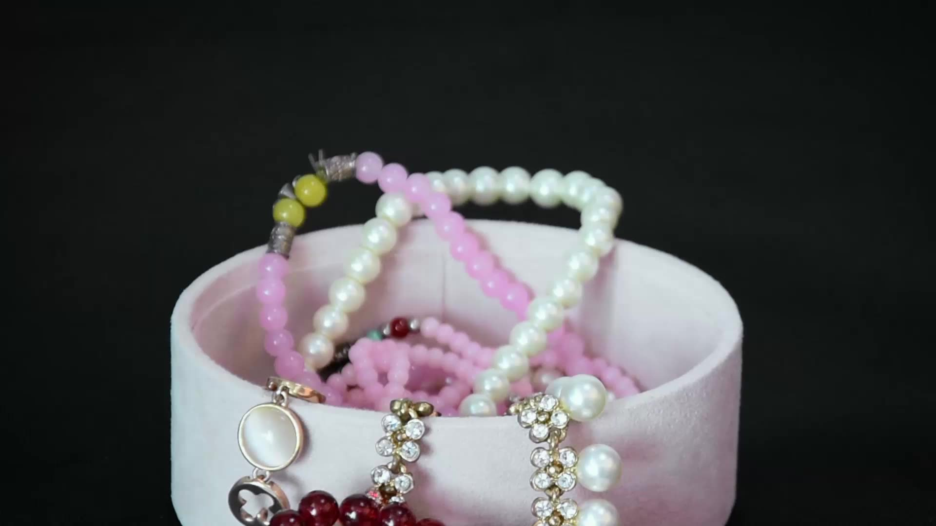 Pink hot sale handmade travel for woman jewelry box