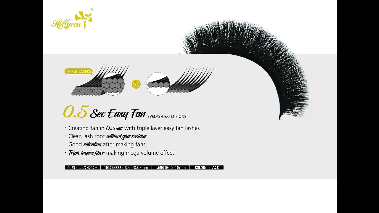 Hollyren Cosmetics private label lashes extension silk mink eyelash extension oem eyelashes for extension