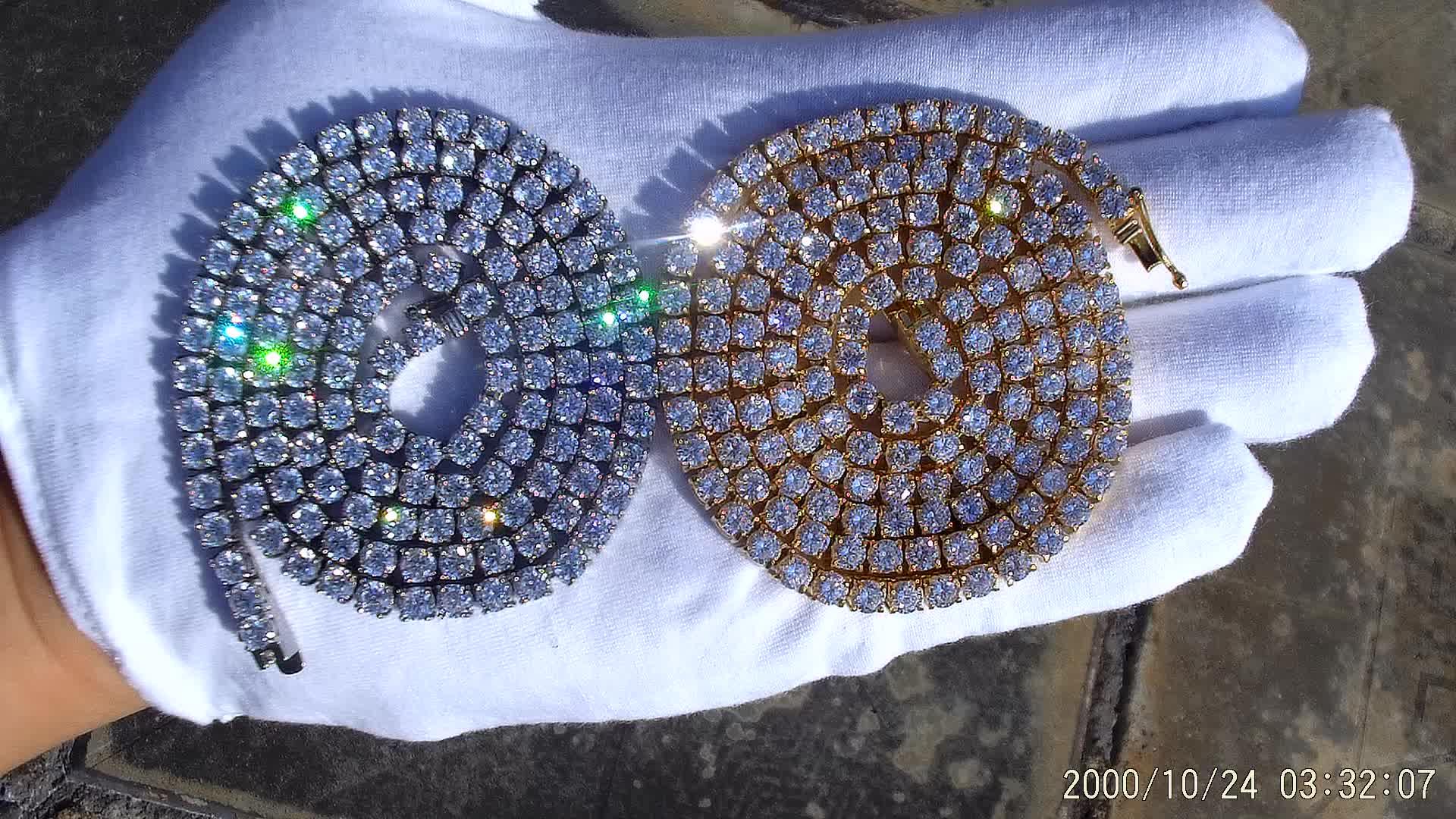 """인기있는 보석 사용자 정의 디자인 18 """"PVD 도금 화이트 골드 CZ 다이아몬드 테니스 체인"""