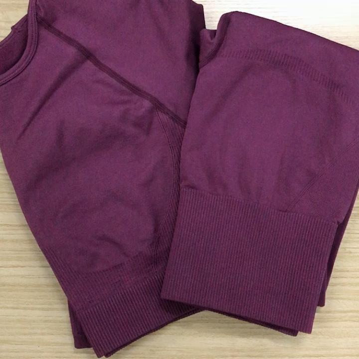 8 colors New Style Comfort 2pcs Seamless Yoga Sets For Women Geo Long Sleeve Crop Top Seamless Yoga Leggings Set