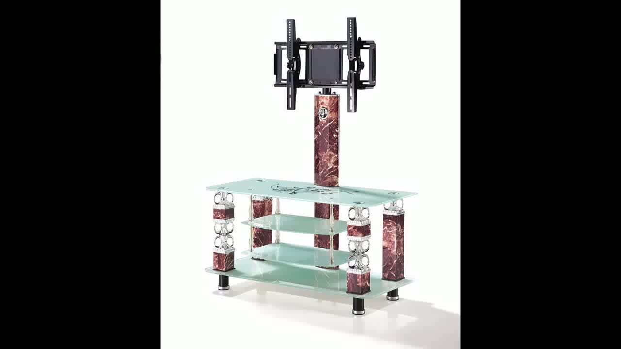 2019 Latest Design Fashion Type Living Home Furniture Tempered Glass TV Stand with Speaker / TV Cabinet with Showcase