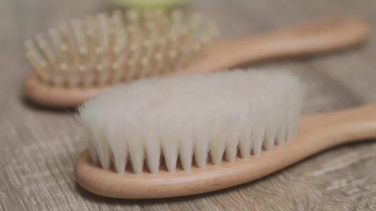 Amazon Bán Nóng chất lượng hàng đầu bé Bằng Gỗ tóc bàn chải và lược thiết lập SINH THÁI thân thiện