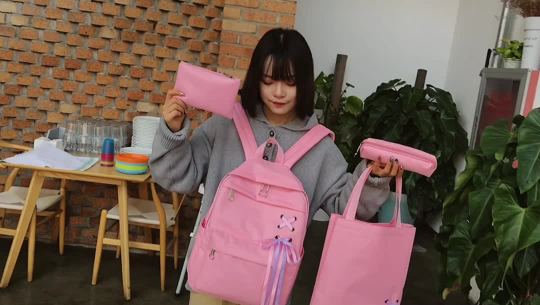 Casual canvas student backpack college campus backpack shoulder school bags set