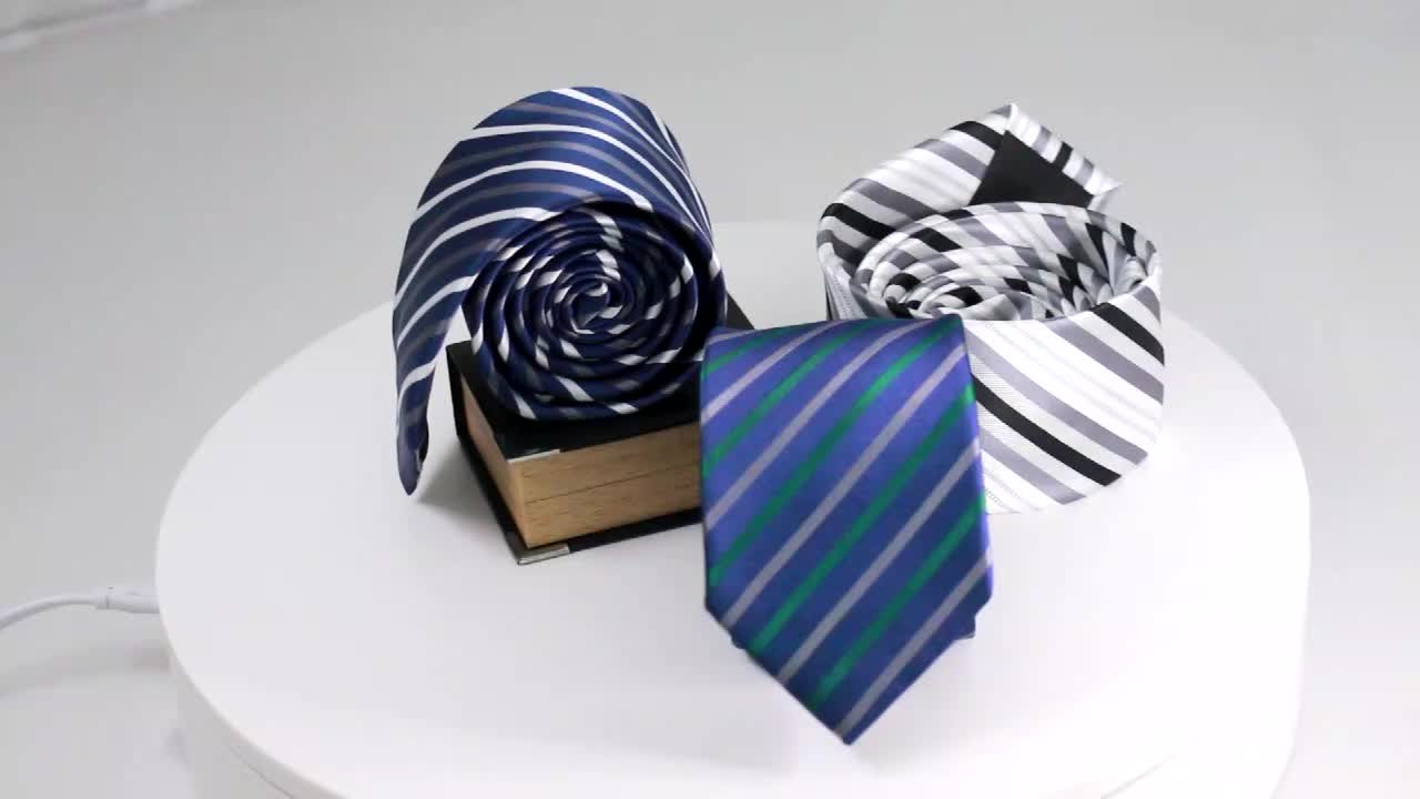 combination with assorted design and color collocation Men's Polyester Three Ties And Three Pocket Squares Set with box