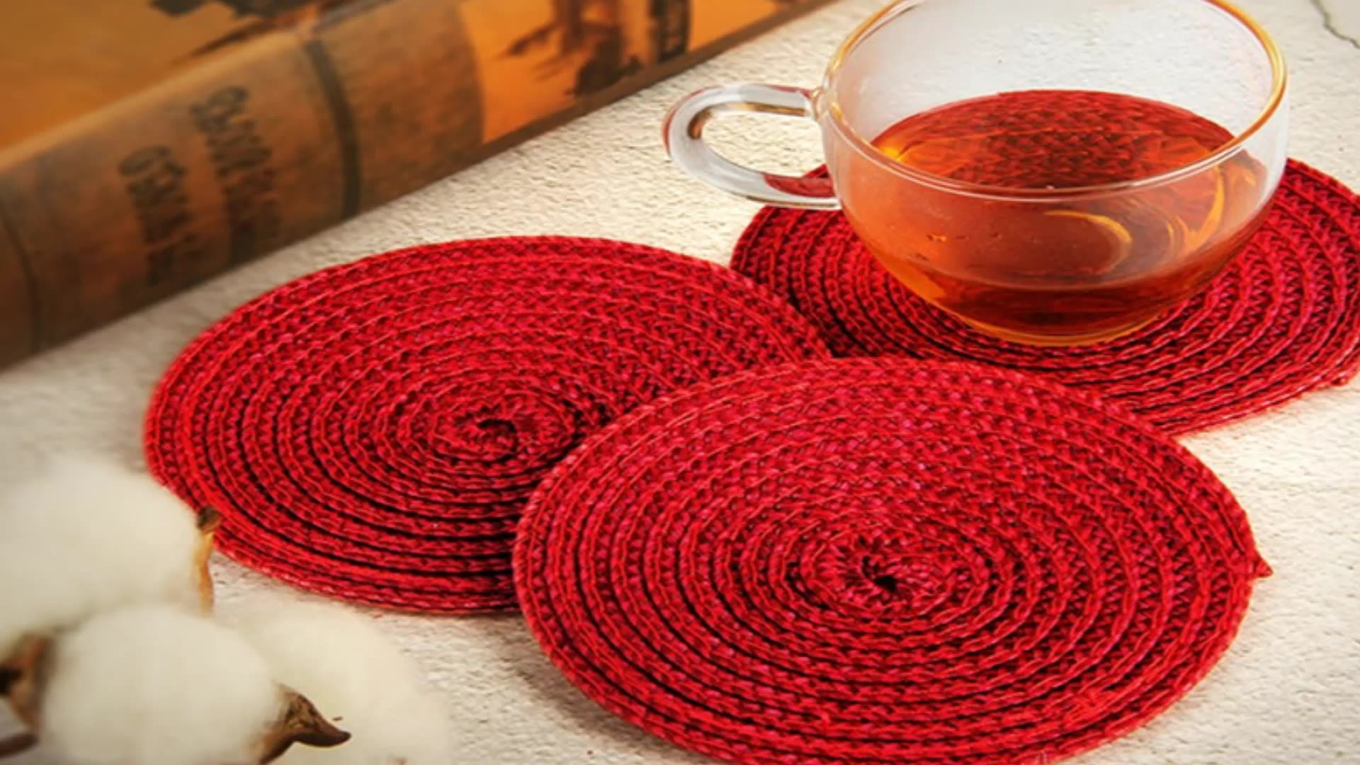 woven wine coaster  PP beer coasters 4x4inch