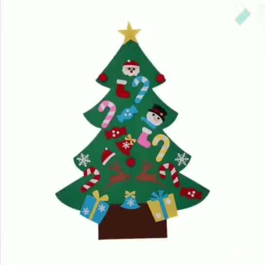 Felt christmas decoration 3D felt Christmas tree with ornaments