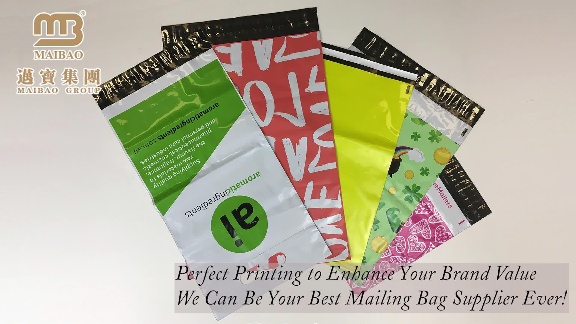आंसू सबूत पुनर्नवीनीकरण प्लास्टिक कूरियर मेलिंग शिपिंग पैकेज कस्टम मुद्रित पाली मेलर बैग के लिए कपड़े