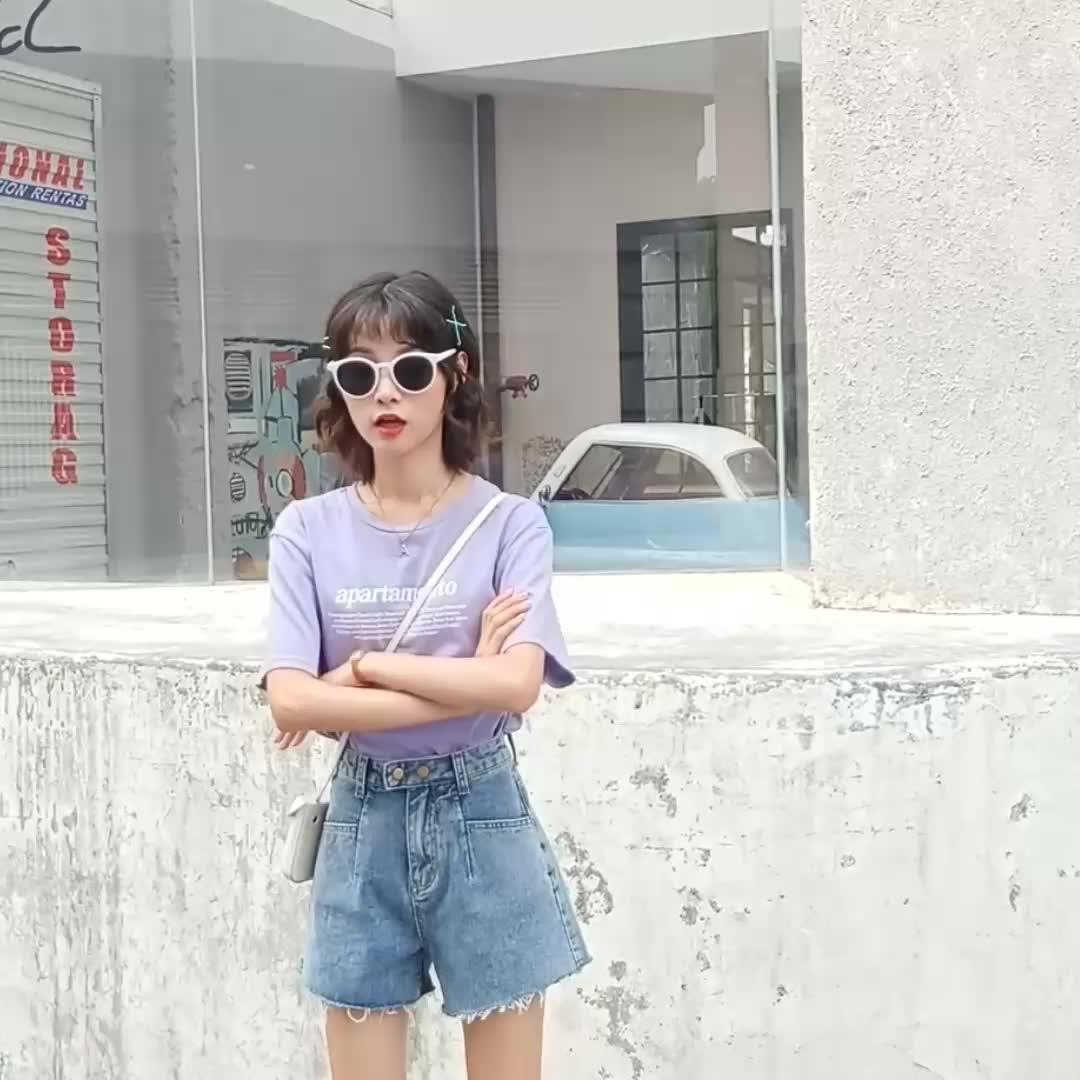 株式の女性のファンシーデザインホットショートバギーパンツジーンズ