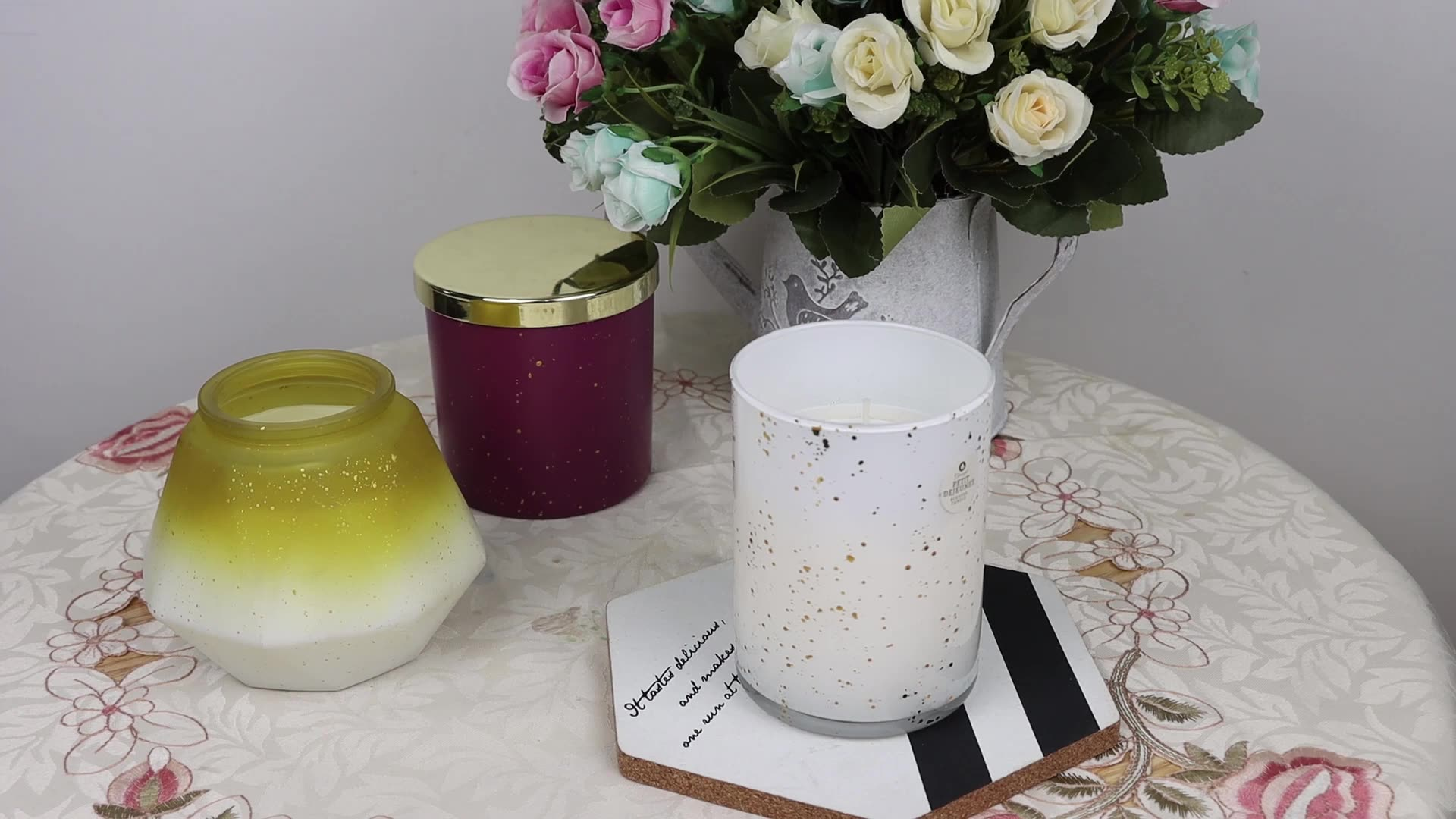 eco- friendly good quality scented party and home decoration glass jar soy candle