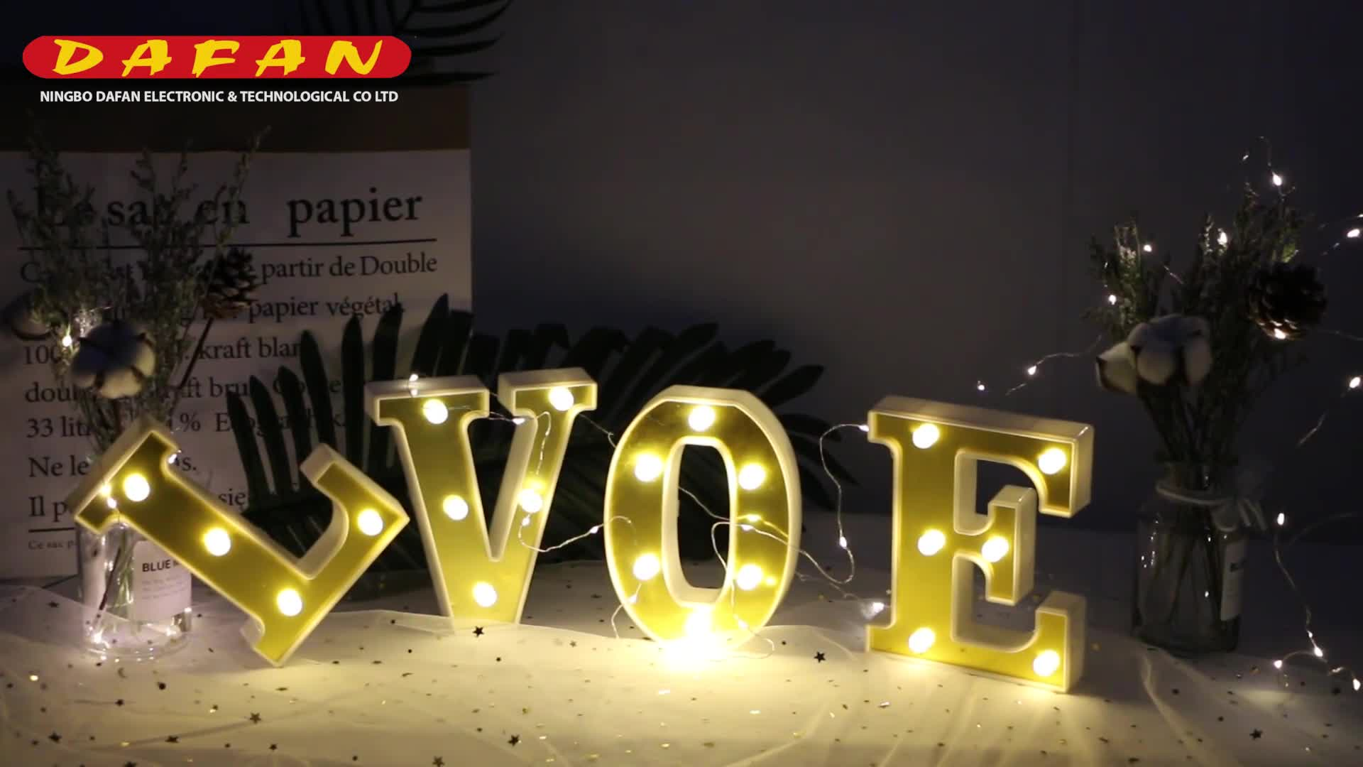 A acrylic decorative letters light battery operated led table lights alphabet lamp