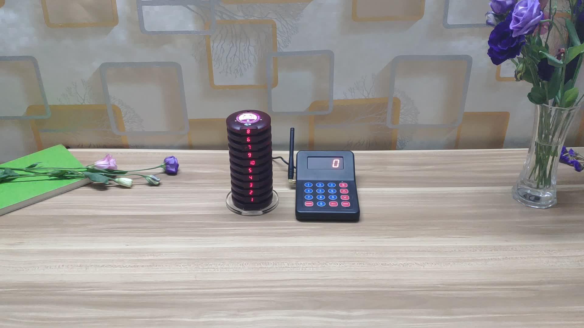 Draadloos oproepsysteem oproep klantenservice voor fasfood restaurant cafe wachtrij pager apparaat vibrators