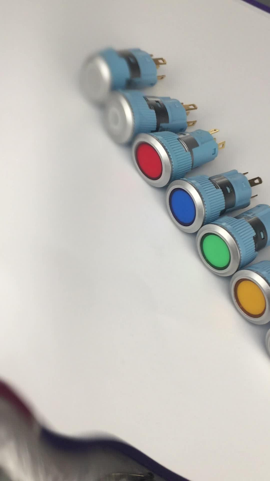 Plastik 16mm Anlık Kırmızı LED Düğme Anahtarı