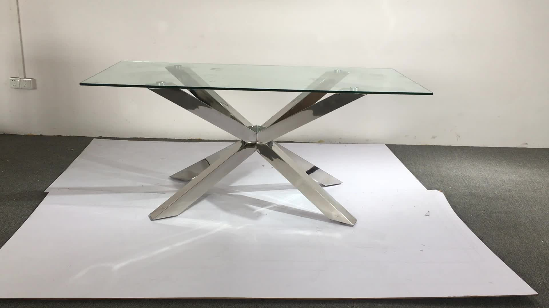 A9002 Moderne gold glas esstisch set mit stühle