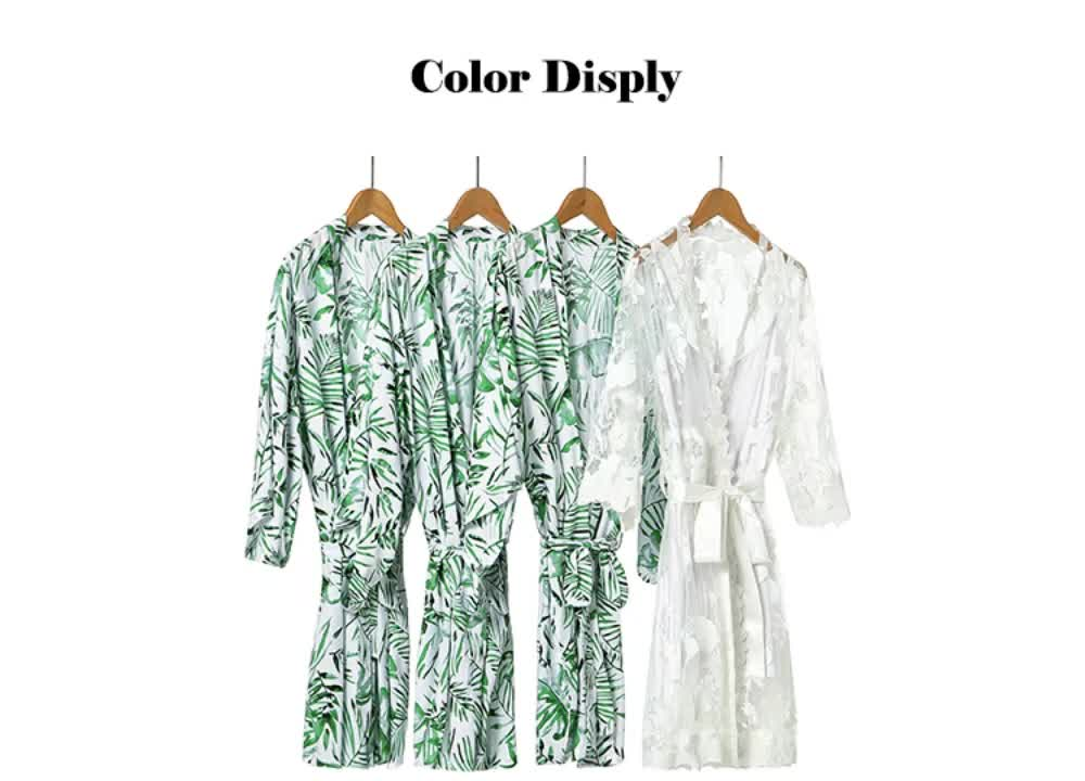 FUNG 3037 PALM LEAF COTTON FLORAL BRIDE AND BRIDESMAID ROBE FOR BRIDAL GIFT