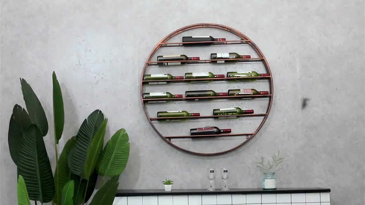 Home decor wall mounted round shape wine bottle stand