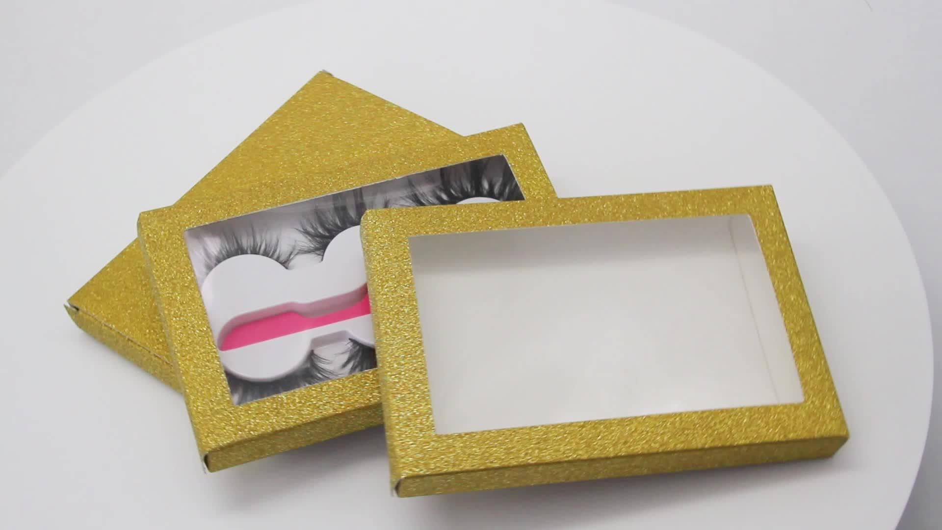 Wimpers Custom Verpakking 3 Pairs Lash Boek Met Pincet Goud Glitter wimpers pakket box