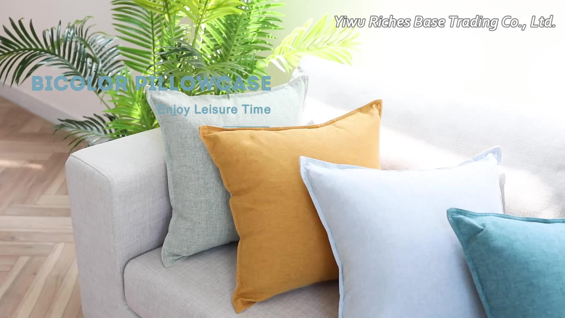 Fronha de travesseiro de estilo liso, capa barata de almofada para decoração de casa com bicores