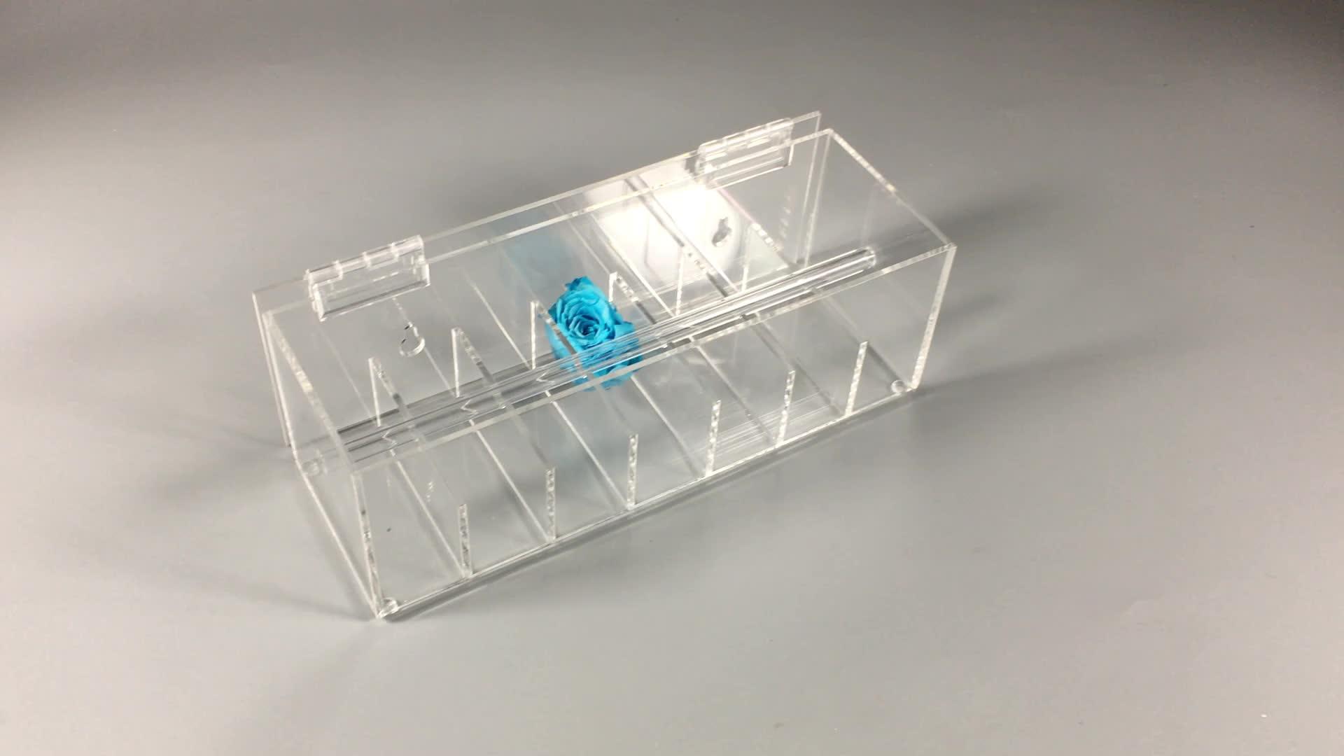 Acrilico trasparente di plastica free standing photo frame con stampato bordo nero