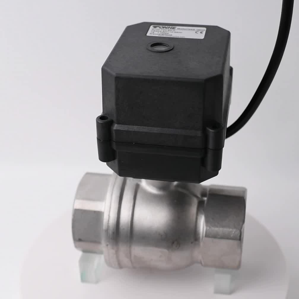 2 way DN40 1.5 inch NPT DC12V DC24V Electric control stainless ball valve
