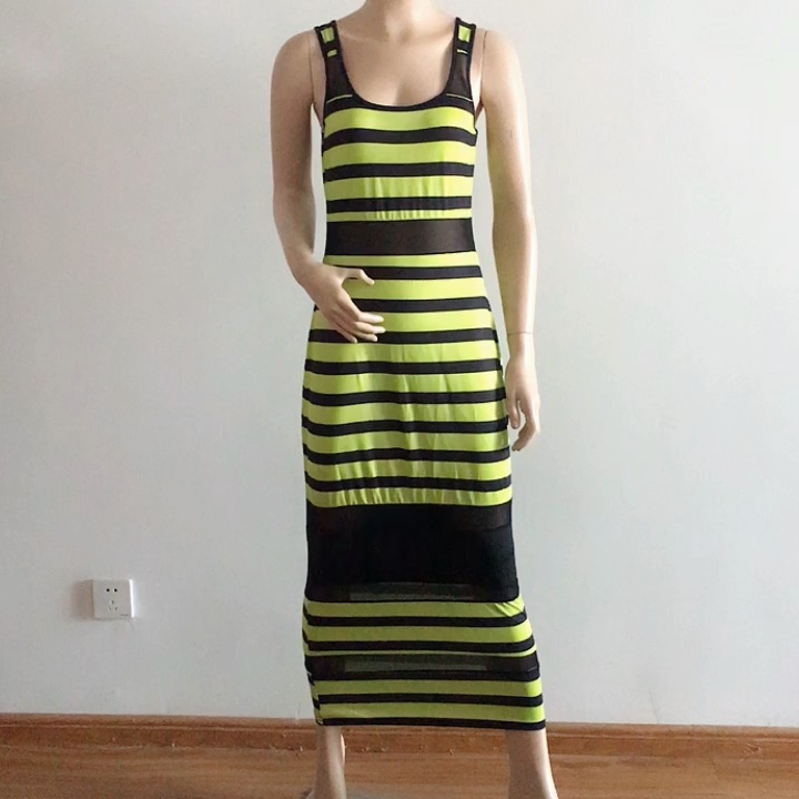 See though Womens Vintage Colorful Striped Printed Dress Bodycon Knee length Dress