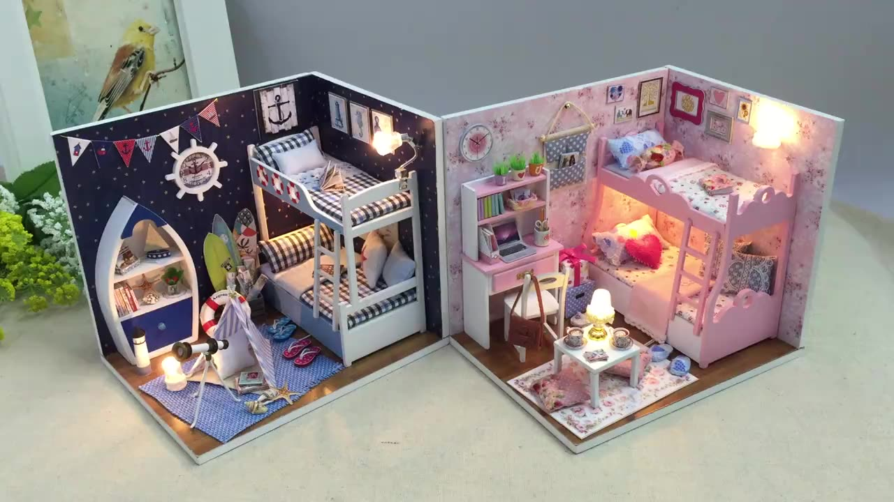 2020 New Product Handmade Miniature Mini Furniture Dollhouse DIY Kits With Light Valentines Day Gifts