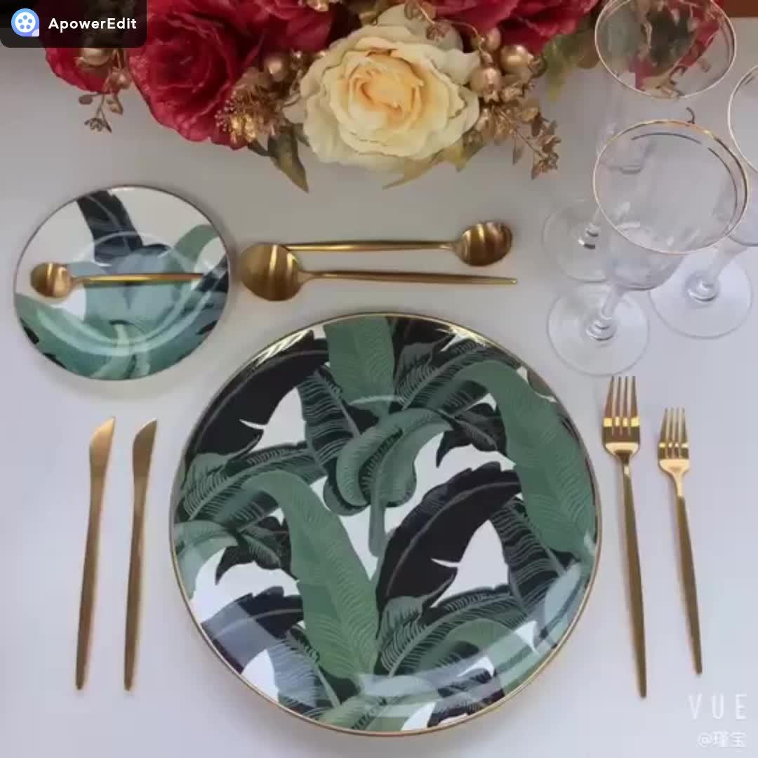 Hot selling  Green Leaf dinnerware charger plates porcelain dinner set ceramic for home