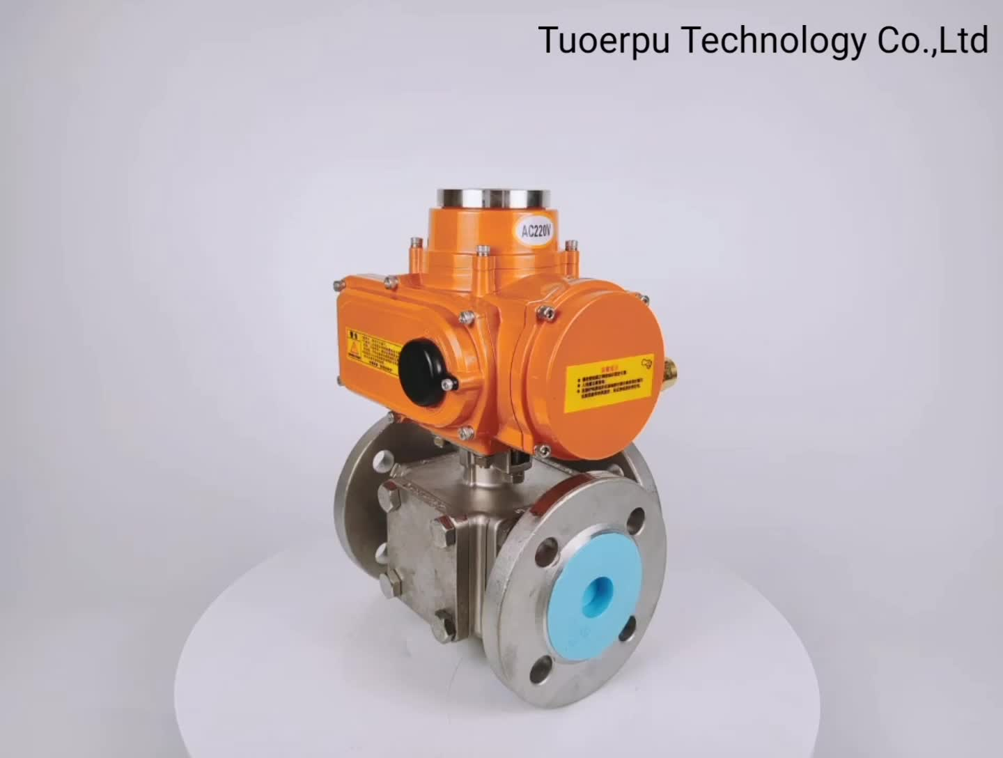 TUOERPU 10 series AC220V/DC24V orange electric actuator plus DN40 three-way ball valve
