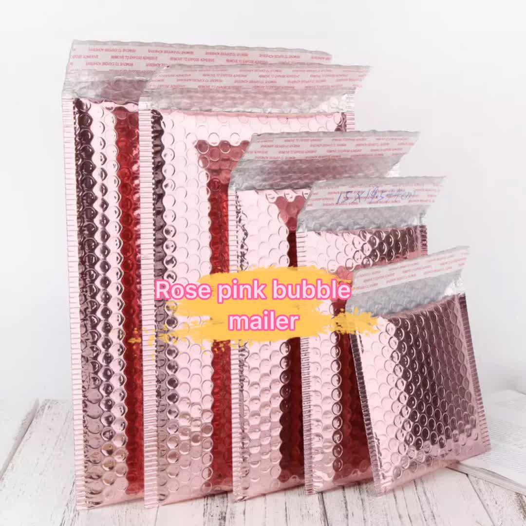 Custom Design Buste Imbottite Bolla Mailing Borse Rose Gold Glitter Metallic Foil Teal Bolla Mailer Logo