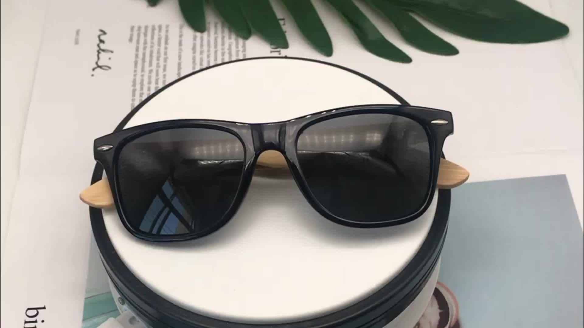Fatti a mano di bambù tempio custom logo occhiali da sole polarizzati mirored unisex occhiali da sole 2019