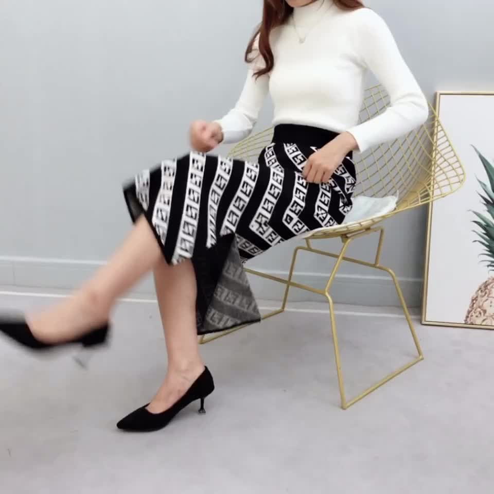 Wholesale fashionable office lady high waist letter print back split over knee knit skirt