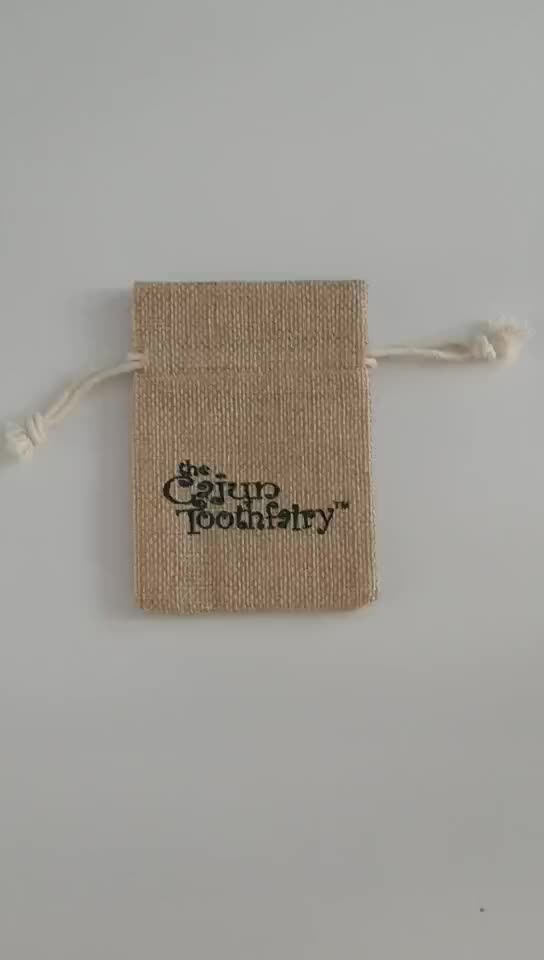 Custom Printed Linen Drawstring Jewelry Gift Pouch Small Jute Drawstring Pouch