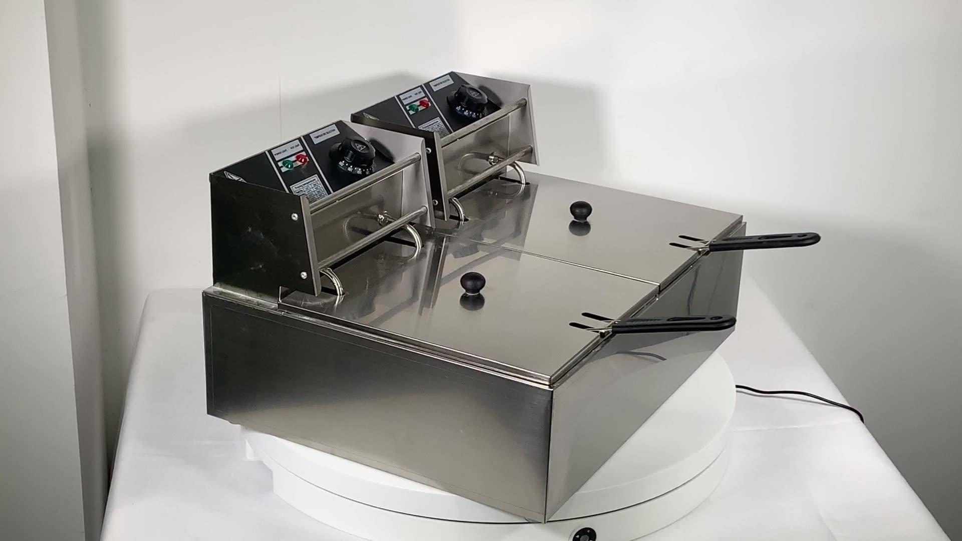 12 litro 2 Serbatoio In Acciaio Inox Friggitrice Elettrica Friggitrice con Doppio Cesto Piazza Grande Piano di Lavoro di Controllo della Temperatura