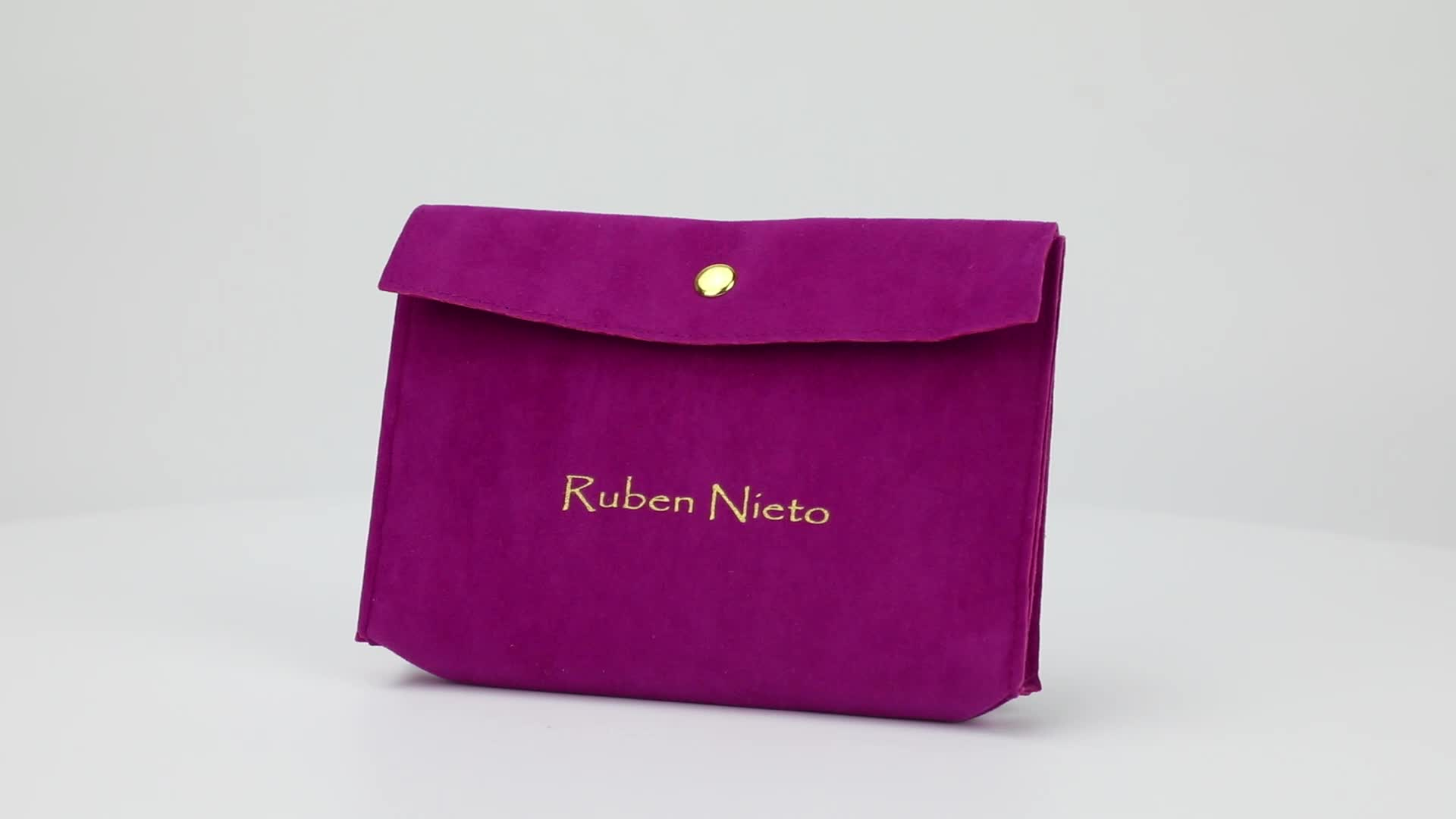 Custom Logo Printed Suede Envelope Flap Jewelry perfume Pouch Wholesale with Snap button