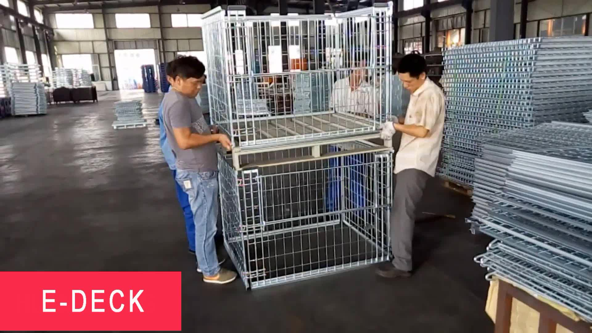 Hot Dip Zinc Stackable Collapsible Folding Storage Metal Steel Stacking Wire Mesh Pallet Cages With Wooden Pallet