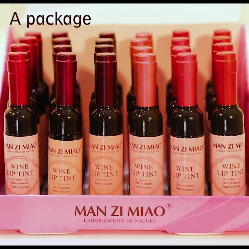 OEM private label 6 colors Waterproof Red Wine bottle Lip Tint