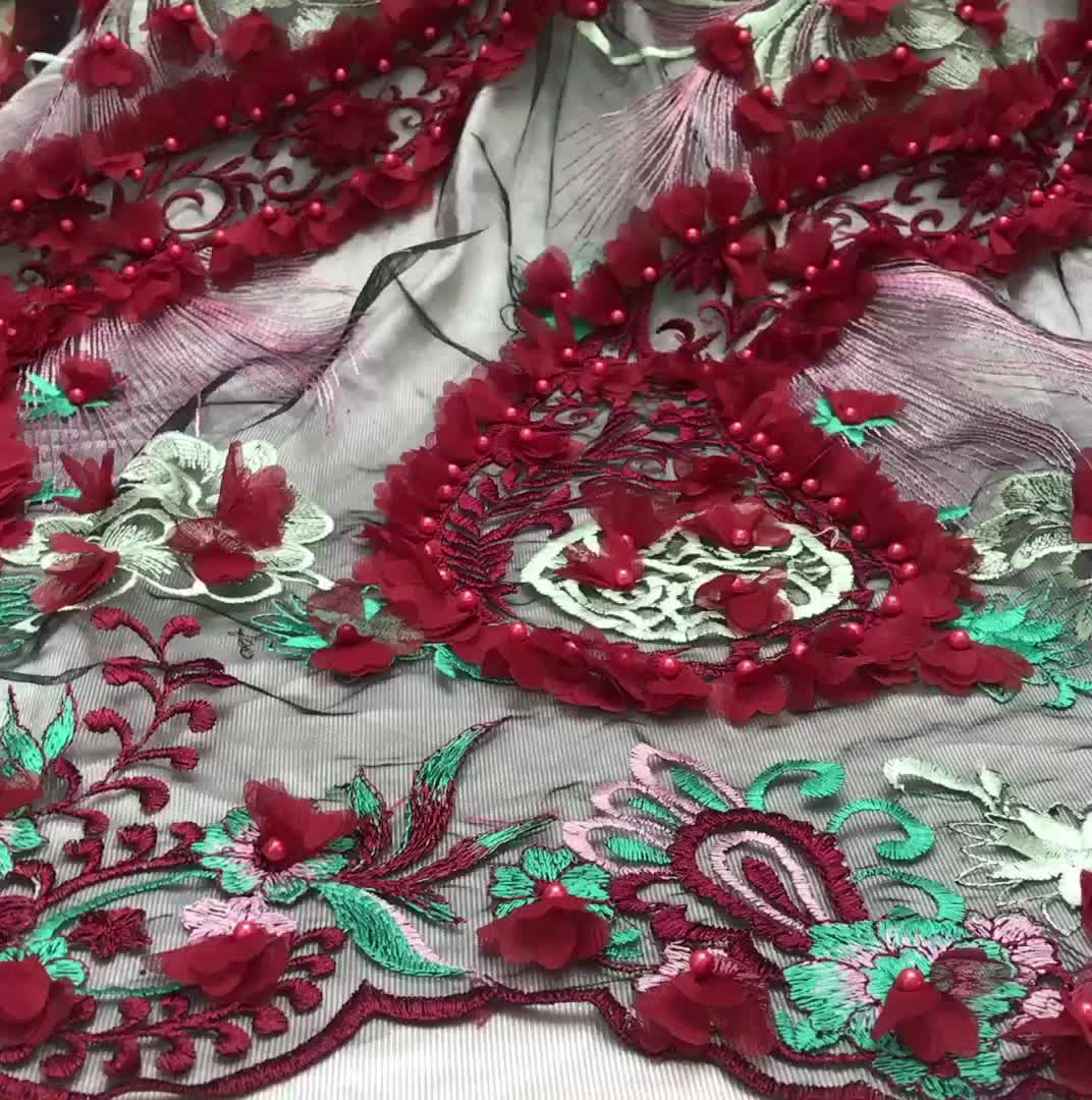 Embroidered tulle manufacturers Latest design gold nigeria lace fabric/cotton embroidery lace with stone for party