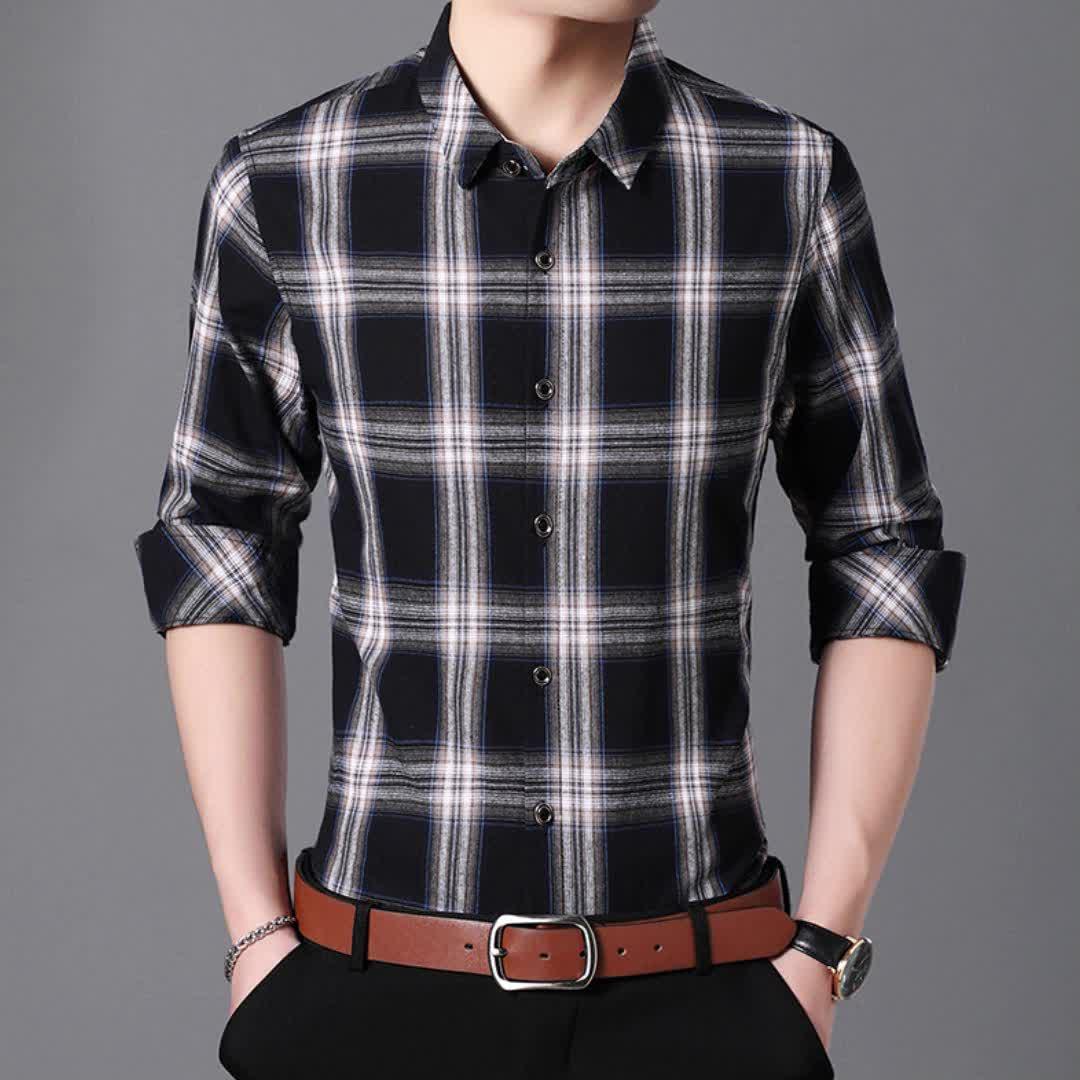 Wholesale western style cotton man's grid long sleeve plus size man shirt