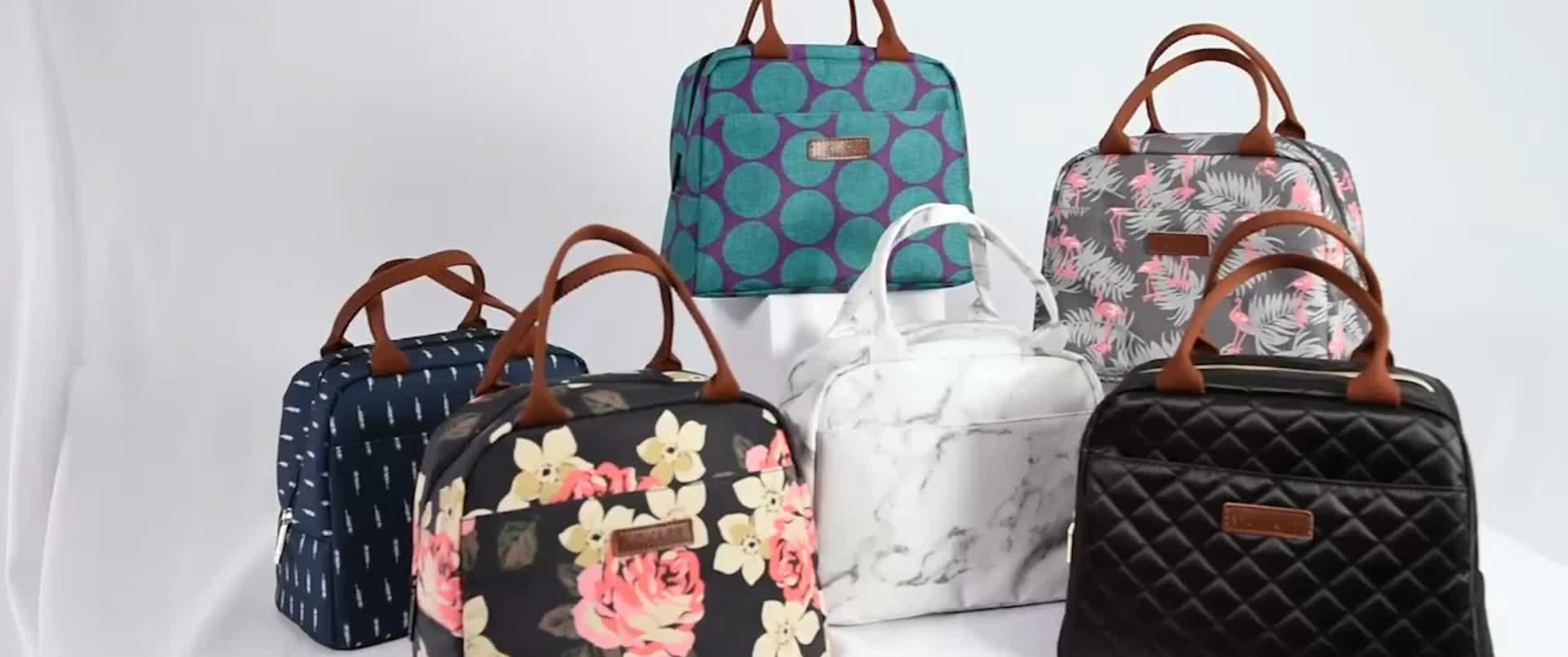 Lokass देवियों निविड़ अंधकार थर्मल अछूता दोपहर के भोजन के कूलर बैग ले जाना के लिए काम