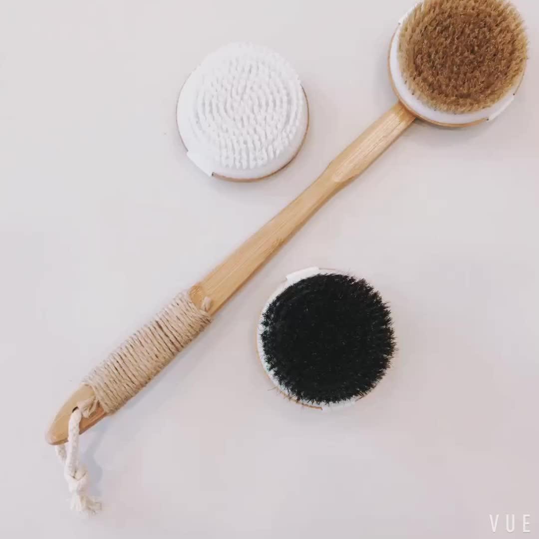 Bad & Relax Bamboe Bad Borstel set lange Handvat Back Body Scrubber Voor douche droog/Nat Huid borstelen Geschikt voor mannen/vrouwen