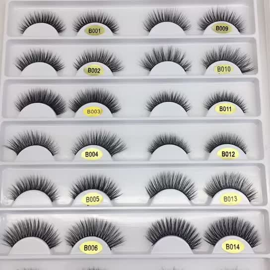 professional 3d faux mink false strip eyelashes with packaging box