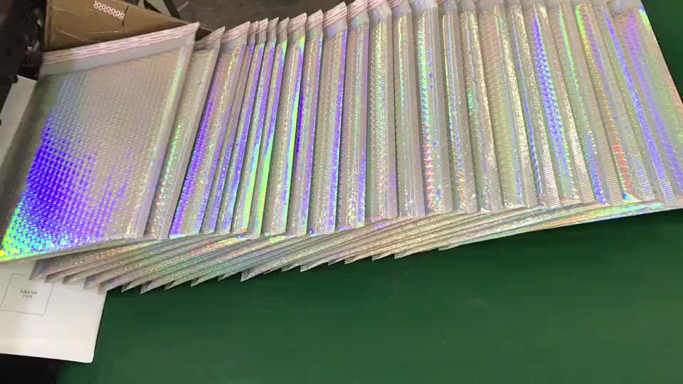 Shenzhen Insulation Material 9.5 X 13.5 Buuble Mailer Holographic Mail Bag Zipper Bubble Poly Polyethylene Foam